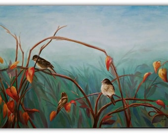 "Oil Painting SUMMER-SET   36X24X3"" Huge Original Oil, bird, Birds, Huge painting, leaves, fall, autumn, branches, landscape, sky"