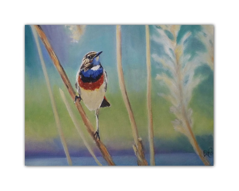 Oil Painting Good Morning Bluethroat Etsy