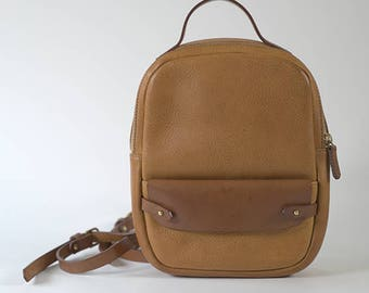 94fb53b62103 Tan leather backpack small