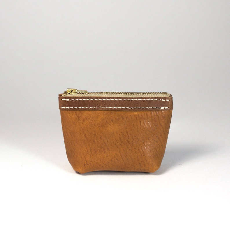 zip up natural leather Australia tan Leather coin purse Coin Purse Mini purse small coin purse brass hardware handmade Melbourne