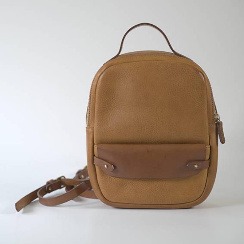 3f0af89210 Tan leather backpack small backpack daypack bag handbag