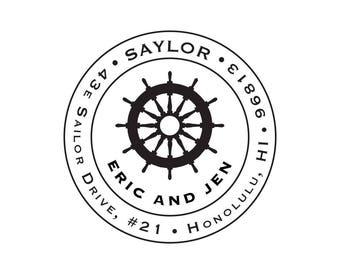 Wedding Housewarming Gift Nautical Seaside Coastal Cruise Personalized Custom Return Address Rubber Stamp Stationery Ship Wheel Circle