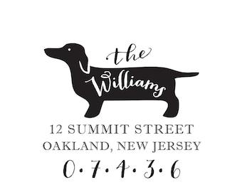 Dachshund Dog Address Stamp, Breed Stationery Personalized Custom Return Address Rubber Stamp or Self Inking Doxie Hot Dog