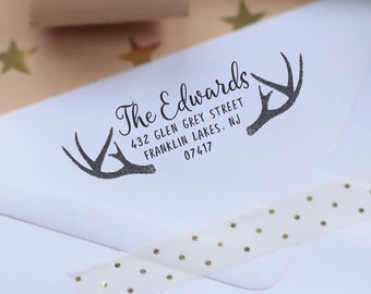 Deer Antlers Address Stamp, Personalized Custom Return Address Rubber Stamp or Self Inking Mailing Envelope Rustic Stationery Stamper