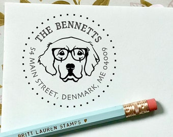 Golden Retriever Dog Glasses Address, Dog Breed Stamp Personalized Custom Circle Return Address Rubber Stamp or Self Inking Stationery