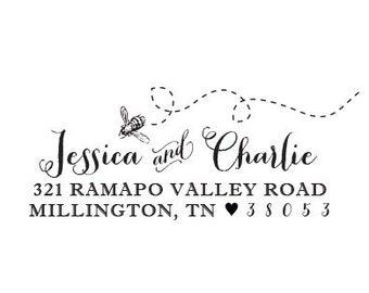Bee Flying Rubber Stamp or Self Inking Stamp Address Personalized Housewarming Anniversary Wedding Gift Envelope Custom Return Address