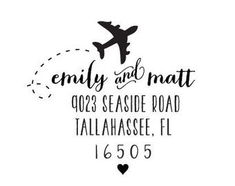 Airplane Address Stamp Rubber Stamp or Self Inking Stamp Personalized Custom Gift Travel Destination Wedding