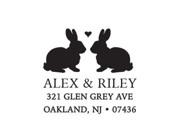 Rabbit Bunny Address Stamp, Personalized Custom Stationery Return Address Rubber Stamp or Self Inking Woodland  Love Heart - Home Sweet Home