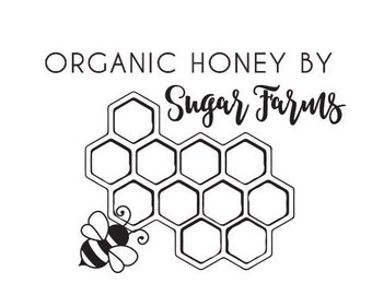 Honey Bee Raw Organic Tag Personalized Custom Rubber Stamp or Self Inking Stamp Farm Business
