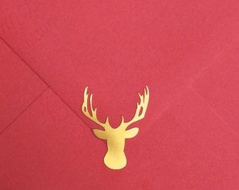 21 Gold Foil Deer Head Woodland Rustic Nature - Planner, Agenda Envelope Seals
