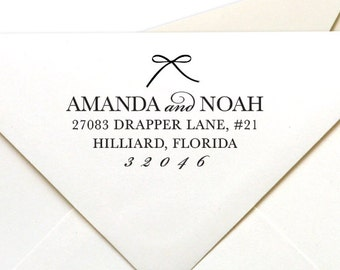 Bow Dots Rubber Stamp or Self Inking Stamp Return Address Stamp Girl Girly Border