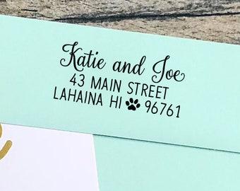 Paw Return Address Stamp / Personalized Custom Return Address Rubber Stamp or Self Inking Stamp Paw Dog Print Animal Lover / Home Sweet Home