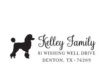 Self Inking or Wood Dog Animal Personalized Custom Return Address Rubber Stamp Stationery Breed Poodle Home Sweet Home
