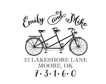 Tandem Bicycle Bike Address Stamp, Housewarming Wedding Anniversary Gift  Self Inking or Personalized Return Address Custom Rubber Stamp