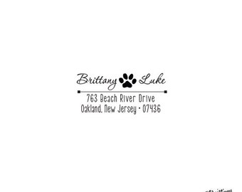 Paw Print Animal Lover Heart Address Self Inking or Wood Nautical Personalized Custom Stationery Return Address Rubber Stamp Home Sweet Home