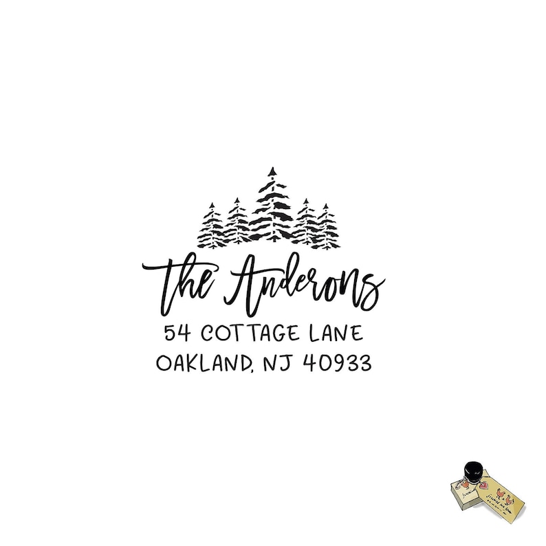 Gift Realtor Rustic Hiking Nature Tree Forest Address Rubber Stamp Personalized Custom Return Address Rubber Stamp or Self Ink