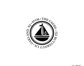 Sailboat Return Address Stamp / Nautical Personalized Custom Rubber Stationery Invitation Boat Boating Beach Ocean Boat Anchor Home Sweet