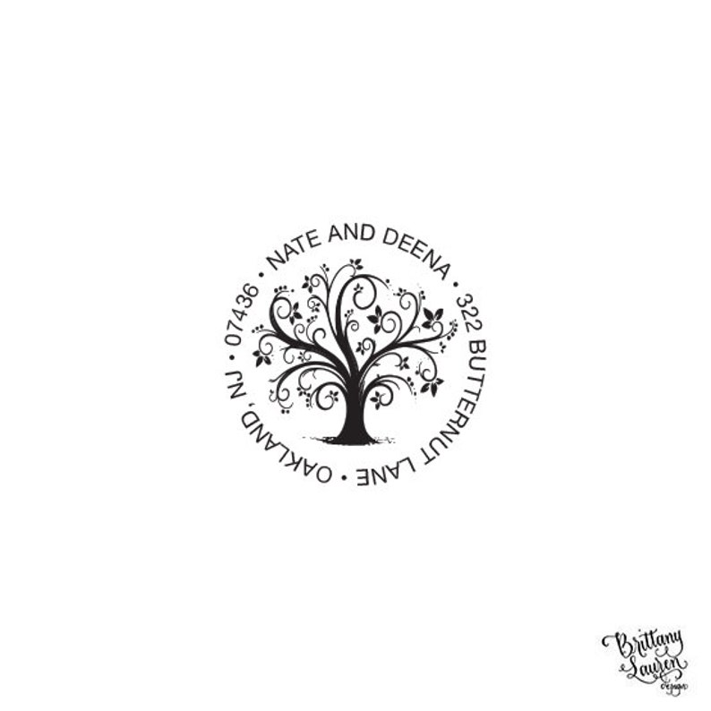 Tree Branches Return Address Stamp  Personalized Custom Return Address Rubber Stamp or Self Inking  Whimsical Tree Nature
