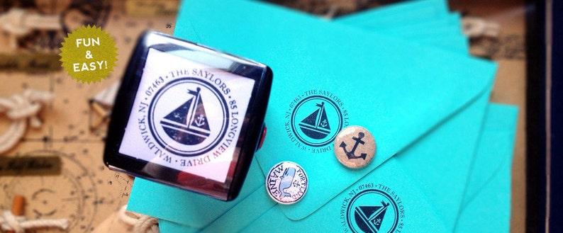 Personalized Custom Return Address Rubber Stamp or Self Inking Stamper Monogram Return Address Stamp