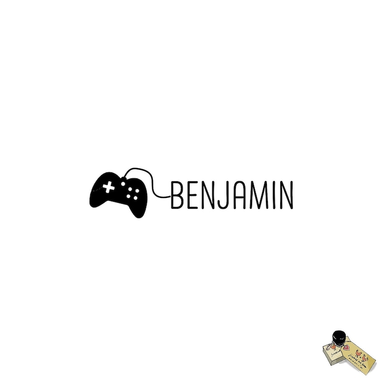 Game Controller Kid Name Rubber Stamp Stationery Gift Personalized Name Stamp Video