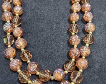 Vintage LISNER Necklace Designer Earrings Set Blue Seed Glass Bead ITALY Bib Choker Cluster Mid Century VivianJoel.com