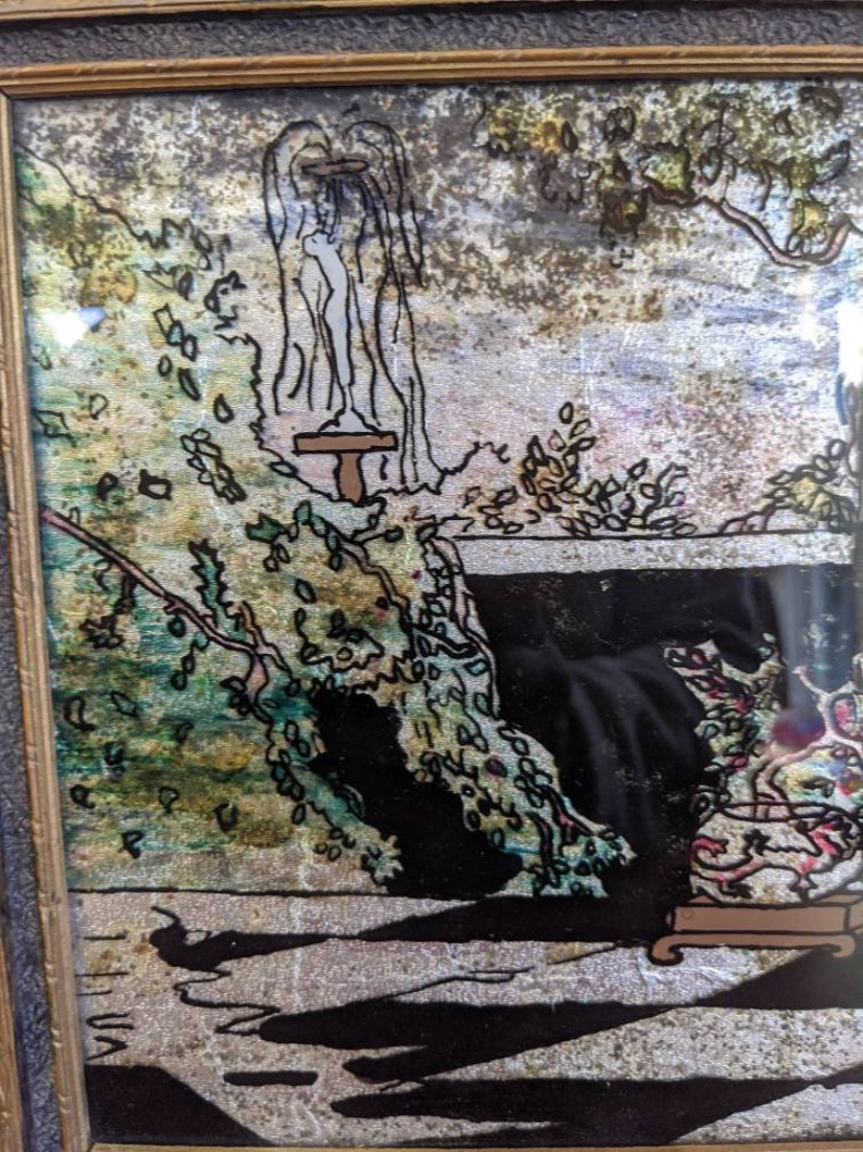 Vintage Reverse Painting Framed Picture Lady Belle Peacock