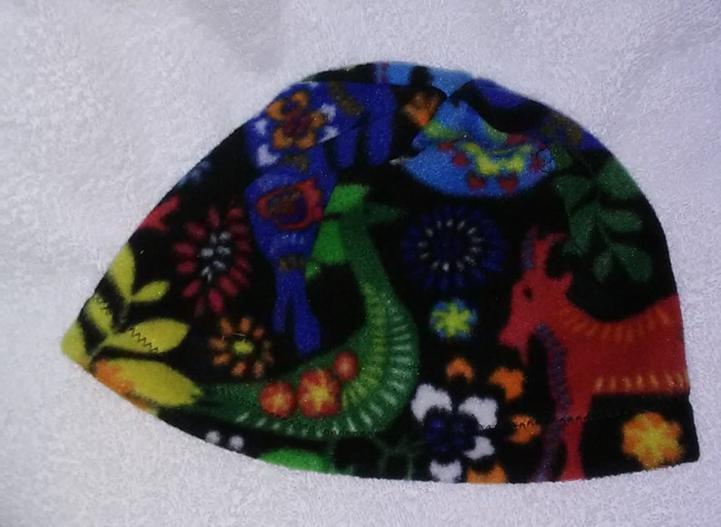 Latin Celebration Medium Weight Fleece Hat with Colorful Animals and Flowers