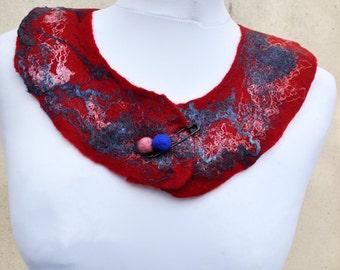 Felted necklace, collar, fibre art, gift