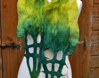 Beautiful scarf, nuno felted scarf, silk, wool, nuno, felted, gift, fibre art