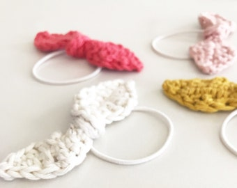 Handmade Bow Hair Band   Crocheted Hair Ties   Cotton Bow   Colorful Handmade Bracelet   Women and Baby Girl Accessory   Party Favors Idea