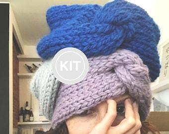 Knitting Kit   Abrazo   Chunky Knit Turban   Soft Baby Alpaca Merino Wool   Winter Headband   Warm Women Turban   Custom Color Turban