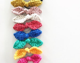 Set of 3 Handmade Bow Hair Bands   Crocheted Hair Ties   Cotton Bows   Colorful Bracelet   Women and Baby Girl Accessory   Party Favors Idea