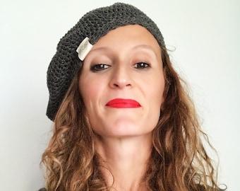 Merci Beret   Wool Beret   Woman Beret   Crochet Beret   Hat   French Hat   Superwash Merino Wool, Peruvian Pima Cotton   Lightweight Beret