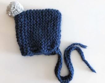 Nana Baby Bonnet   Newborn   Hand Knitted Chunky Hat   Pom pom Bonnet   Handmade   Baby Alpaca Merino Wool   Peruvian Yarn   Custom Colors