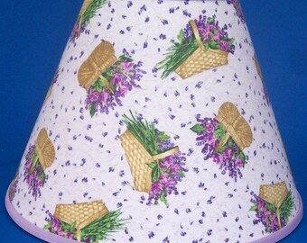 Lavender lamp shade etsy lavender flowers basket lamp shade aloadofball Image collections