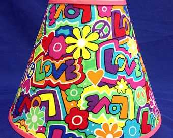 Retro Love Peace Lamp Shade