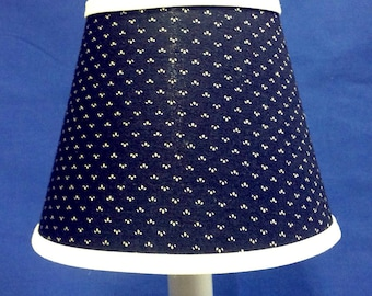 Navy with White Dots Chandelier Shade Battery Operated Electric Candle