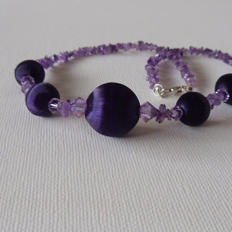 Birthday Crystals and Gemstone  Necklace Necklace Purple Silk Beads Gift for Her Crystals and Amethyst Necklace Purple Lilac Necklace