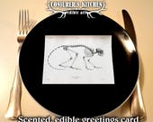 3 x Scented and Edible Vintage Mammal Skeleton Greeting Cards