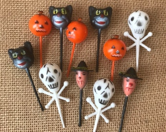 HALLOWEEN SKULL MIXED EDIBLE CUPCAKE TOPPERS DECORATIONS 3227