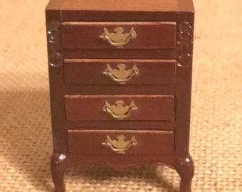 Vintage Doll House Furniture Miniature Beautiful Night Stand Dresser  Drawers Cabinet Wood