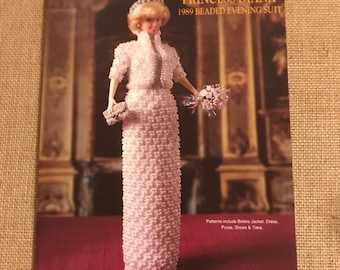 8ba5b3c40ba Paradise Publications Princess Diana Royal Beaded Evening Suit Dress Gown  Crochet Pattern Booklet Vintage 1997 Collector Costume volume 49