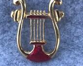 Vintage Christmas Gold Harp Pin Brooch Enamel Red Gold Tone (BB)
