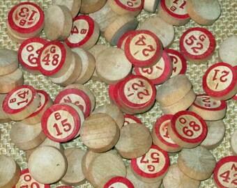 Large Lot of 70 Vintage Red Wood Bingo Numbers