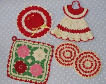 Vintage Crocheted Pot Holder Dress Hat Red White Set of 5