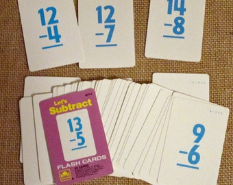 Vintage Flashcards Subtraction Math - Lot of 40 cards All to GO - Golden