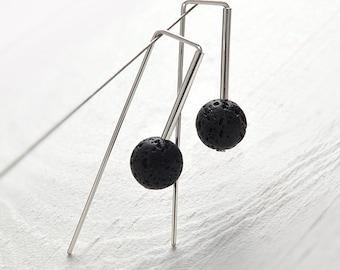 minimalist geometric jewelry   black lava sterling silver earrings   gift for women   girlfriend gift for her   best friend gift  MWstudio