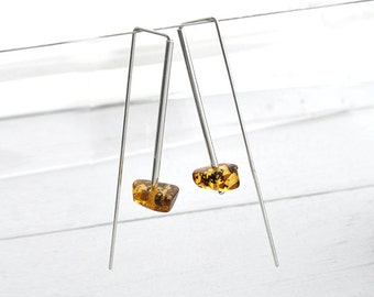 Modern minimal earrings baltic amber and sterling silver best friend gift for wife gift mom gift gifts for mom gift for women birthday gift