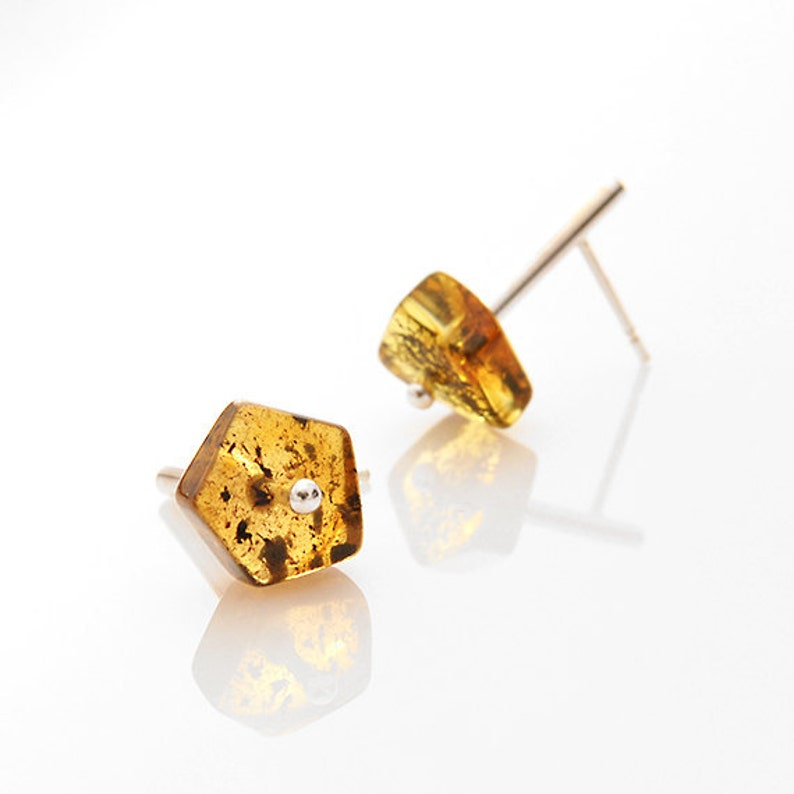 c1f9739543832 Minimalist stud earrings Geometric Baltic amber Sterling silver Girlfriend  gift Studs Gift for her Gift for women Best friend wife gift