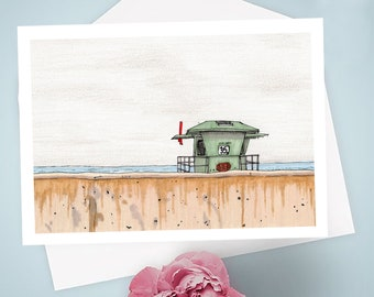 Lifeguard Tower 35 6x4 Greeting Card with Envelope